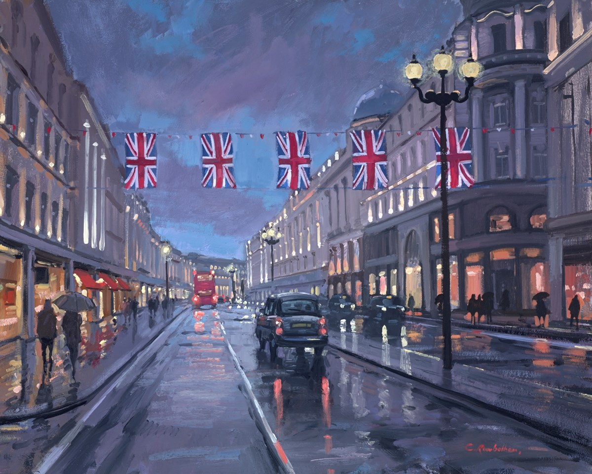 Regent Street Taxis by charles rowbotham -  sized 24x20 inches. Available from Whitewall Galleries